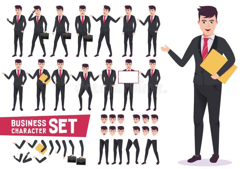 Os caráteres do negócio ajustaram-se com o trabalhador de escritório masculino profissional ilustração royalty free
