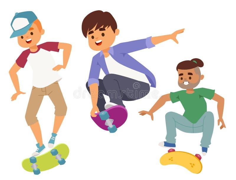 Os caráteres do skate vector o ícone skateboarding extremo de patinagem à moda da atividade masculina dos desenhos animados do pa ilustração stock