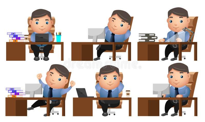 Os caráteres do vetor do homem de negócio ajustaram-se com homem de negócios ou gerente ilustração royalty free