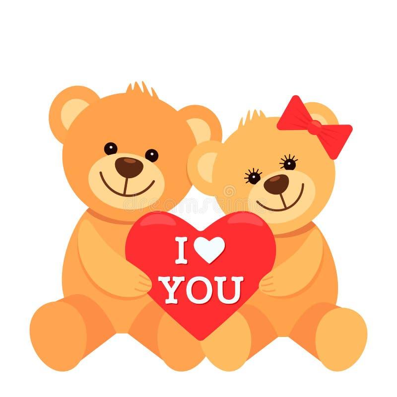 Os caráteres engraçados são dois ursos de peluche que abraçam e que realizam em suas patas um coração grande com a inscrição eu t ilustração do vetor