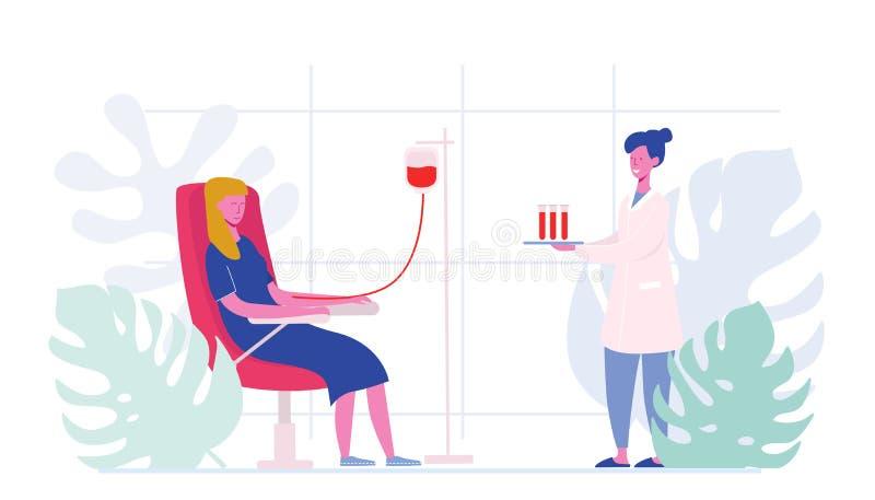 Os caráteres fêmeas dos voluntários que sentam-se no hospital médico presidem a doação do sangue Doutor Woman Nurse Take no tubo  ilustração royalty free
