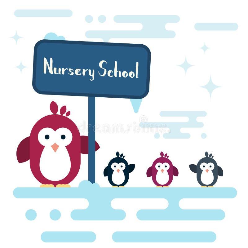 Os caráteres lisos dos pinguins estilizaram como um infantário no polo sul ilustração stock