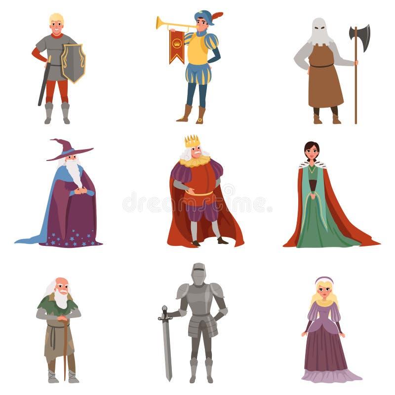 Os caráteres medievais dos povos ajustaram-se, ilustrações europeias do vetor dos elementos do período histórico da Idade Média ilustração stock