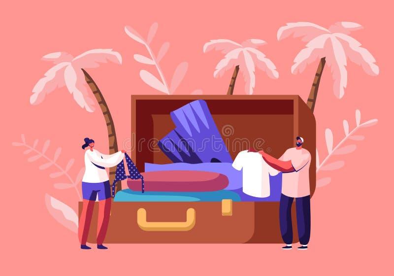 Os caráteres minúsculos tomam a roupa e acessórios para fora de viagem da mala de viagem enorme após a viagem das férias, lazer d ilustração do vetor
