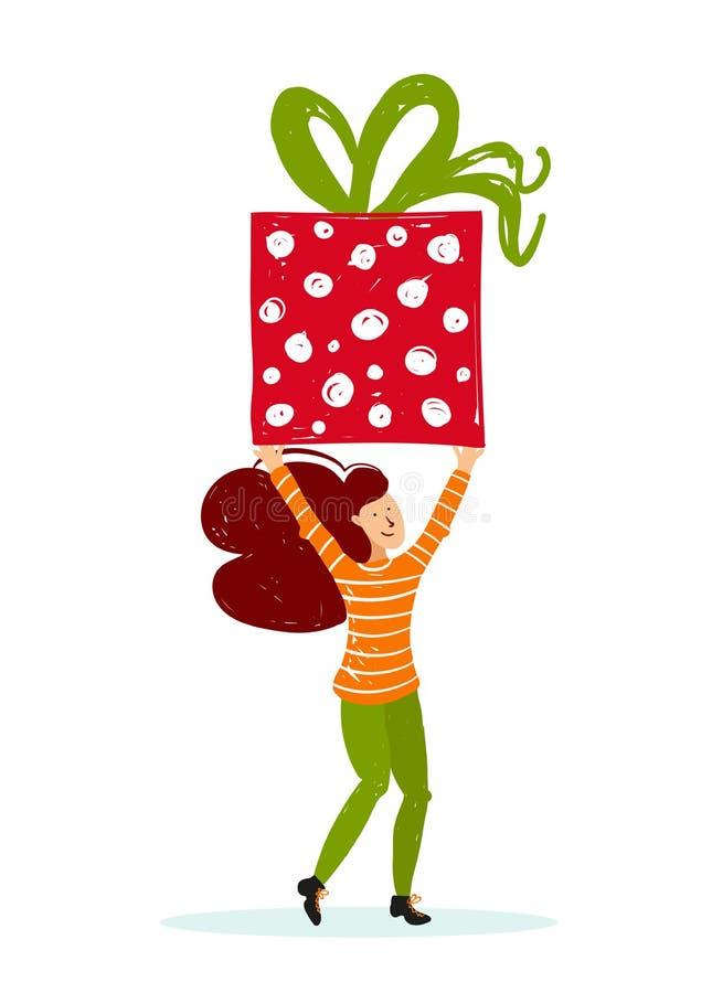 Os caráteres pequenos dos povos trazem a caixa de Natal Decoração do ano novo Pessoas pequenas da fantasia que trabalham no mundo ilustração stock