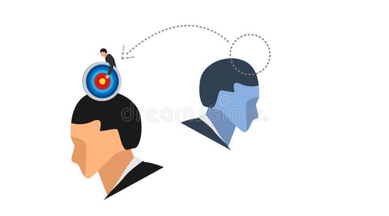Os caráteres pequenos levam os pontos do alvo que estão acima das cabeças e das silhuetas das cabeças de outros homens sem o varr foto de stock