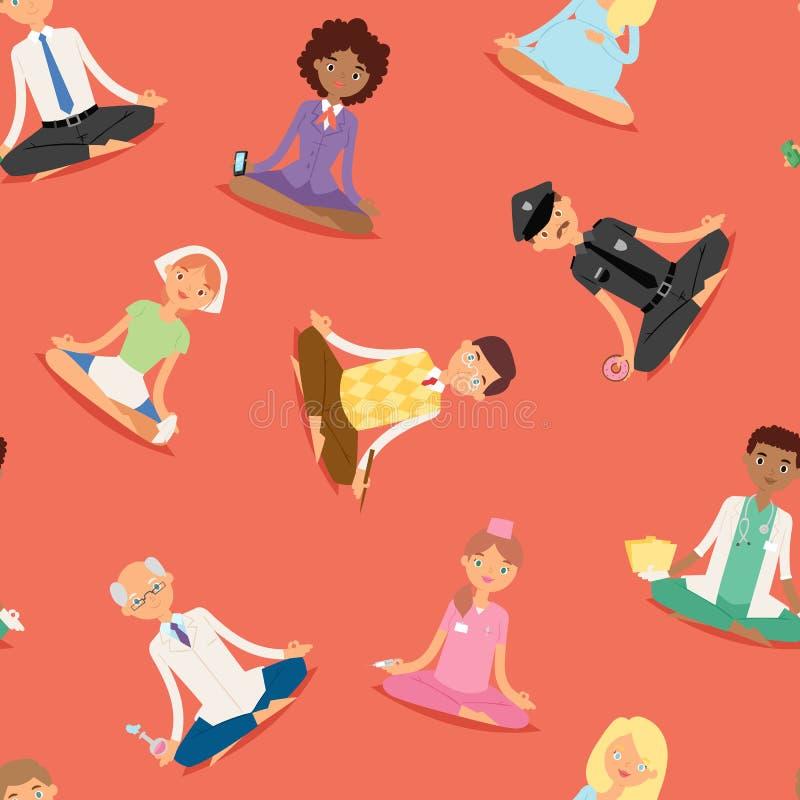 Os caráteres saudáveis do estilo de vida das profissões diferentes do procedimento do abrandamento dos povos da ioga da meditação ilustração do vetor