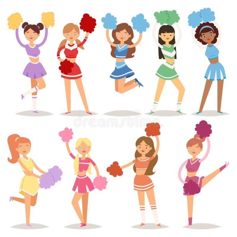 Os caráteres uniformes cheerleading da equipe de mulher da dança do aficionado desportivo das meninas dos líder da claque dos des ilustração stock