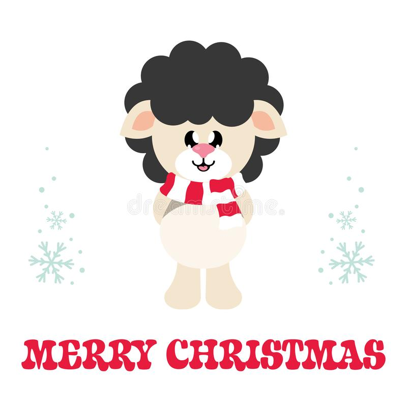 Os carneiros bonitos dos desenhos animados enegrecem com lenço e texto do Natal ilustração royalty free
