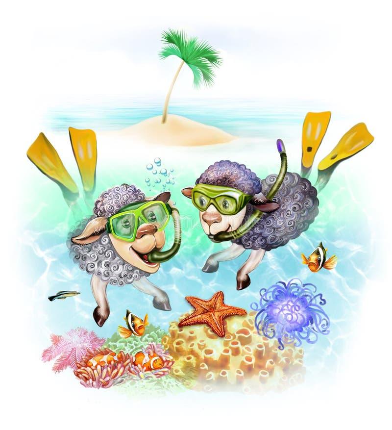 Os carneiros estão mergulhando ilustração stock