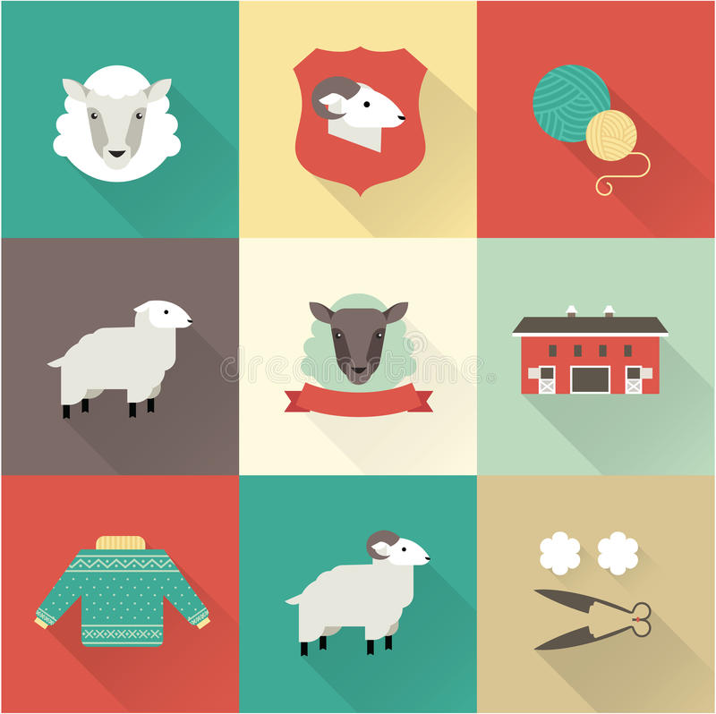 Os carneiros vector o grupo ilustração royalty free
