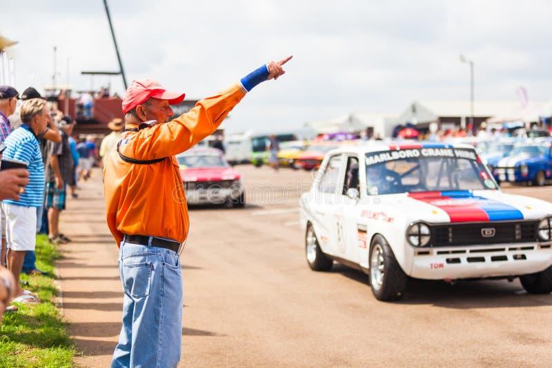 Os carros alinham antes de uma raça em zwartkops foto de stock