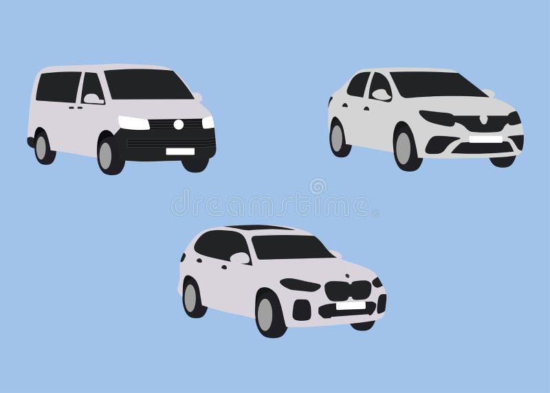 Os carros brancos do táxi ajustaram-se isolado no backgroung ilustração do vetor