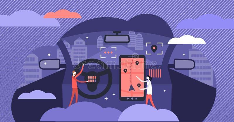 Os carros cruzam a ilustração do vetor da plataforma Conceito minúsculo liso das pessoas dos dispositivos ilustração royalty free
