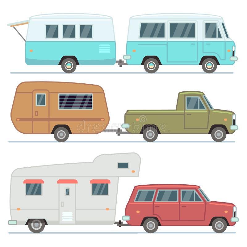 Os carros do rv, viajam casas móveis, reboques de acampamento da família, grupo do vetor dos veículos do motorhome isolado ilustração stock