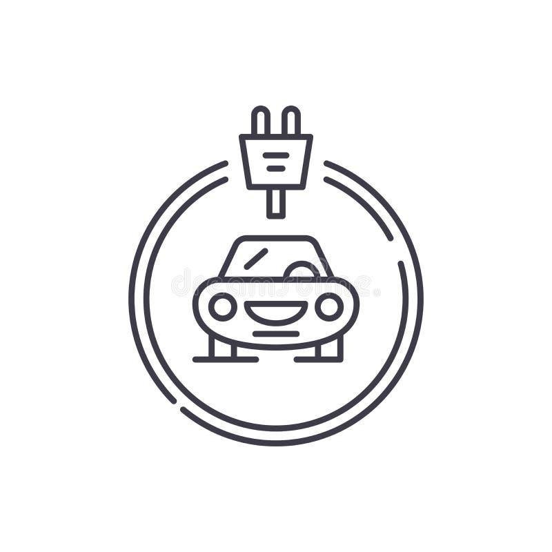 Os carros dos elétricos alinham o conceito do ícone Ilustração linear do vetor dos carros dos elétricos, símbolo, sinal ilustração stock