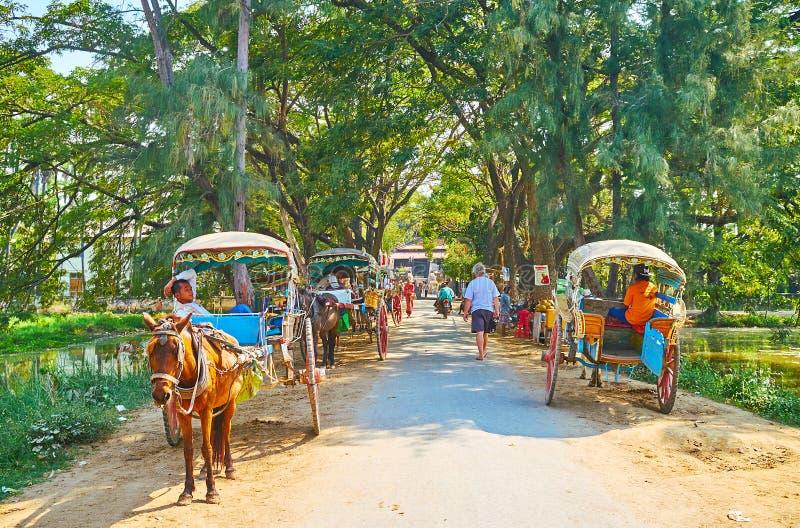 Os carros puxados por cavalos, weiting os turistas, Ava imagem de stock