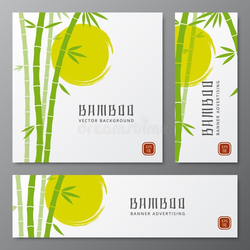 Os cartões asiáticos dos threes do bambu ou as bandeiras de bambu japonesas vector a ilustração ilustração stock