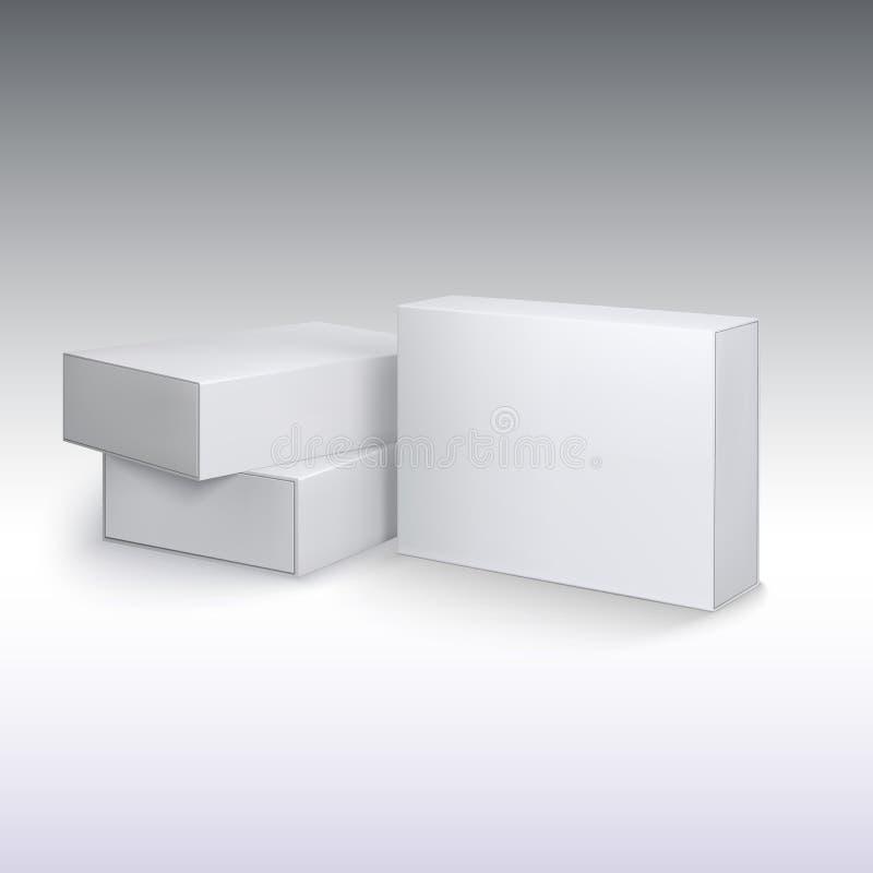 Os cartões brancos do produto, pacote encaixotam o modelo ilustração do vetor