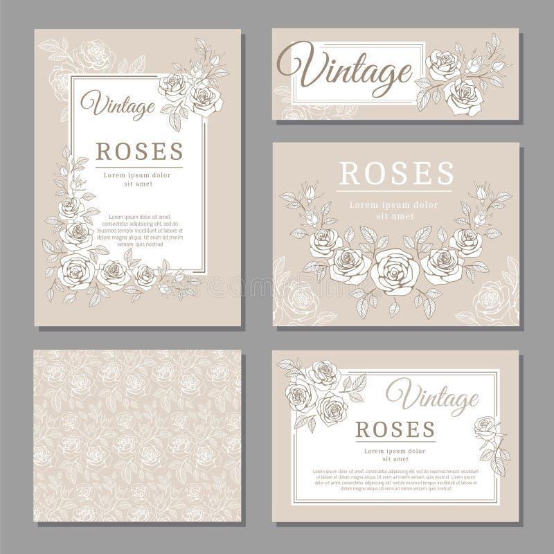 Os cartões clássicos do convite do vintage do casamento com rosas e elementos florais vector moldes ilustração stock