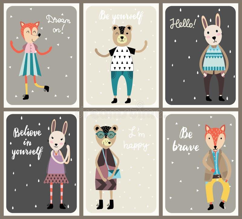 Os cartões com os animais bonitos da forma ajustaram-se no estilo escandinavo ilustração royalty free