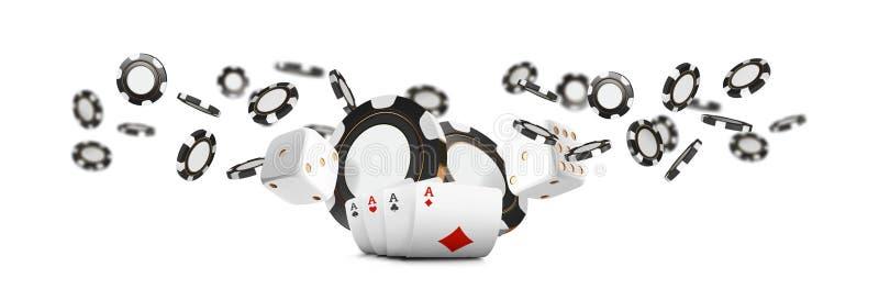 Os cartões de jogo e as microplaquetas de pôquer voam a bandeira larga do casino Conceito da roleta do casino no fundo branco Vet ilustração royalty free