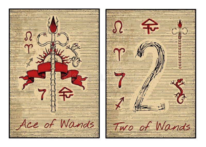 Os cartões de tarô no vermelho Ace e duas das varinhas ilustração do vetor