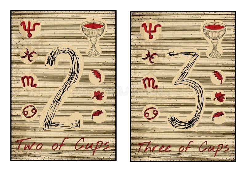 Os cartões de tarô no vermelho Dois e três dos copos ilustração royalty free