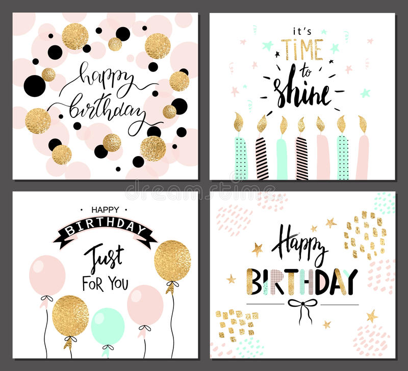 Os cartões do feliz aniversario e os moldes do convite do partido com rotulação text Ilustração do vetor Estilo tirado mão