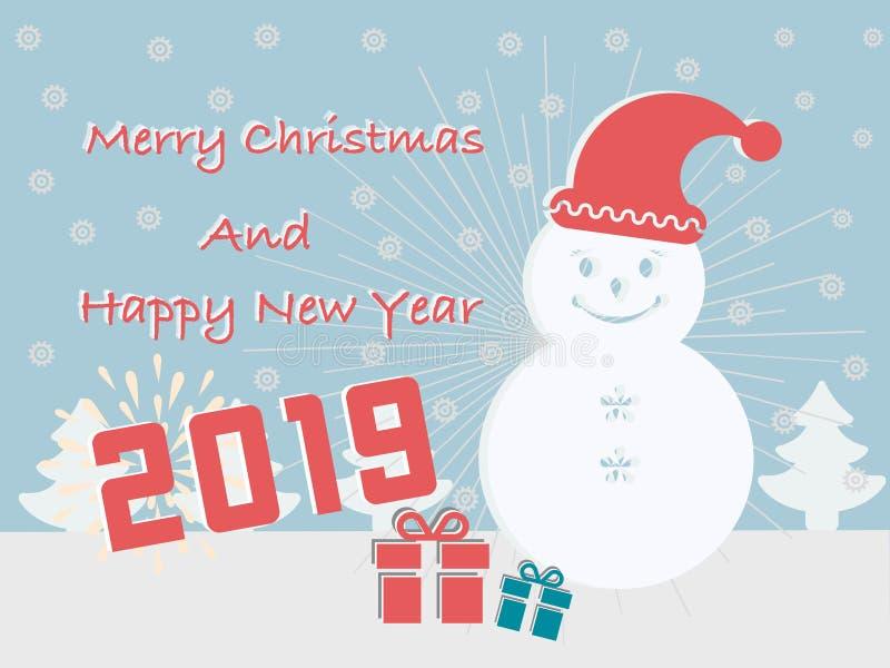 Os cartões do Feliz Natal e do ano novo feliz 2019 têm uma caixa de presente do esquimó no fundo de turquesa ilustração stock