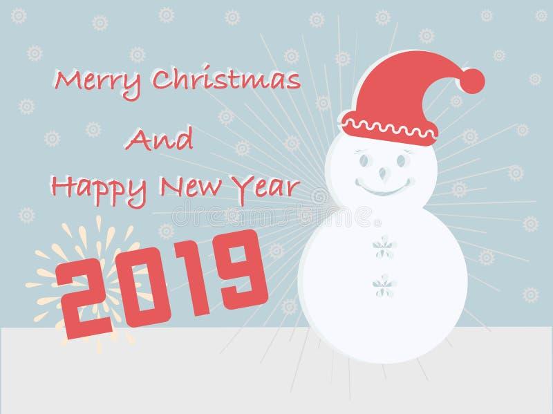 Os cartões do Feliz Natal e do ano novo feliz 2019 têm uma caixa de presente do esquimó no fundo de turquesa ilustração royalty free