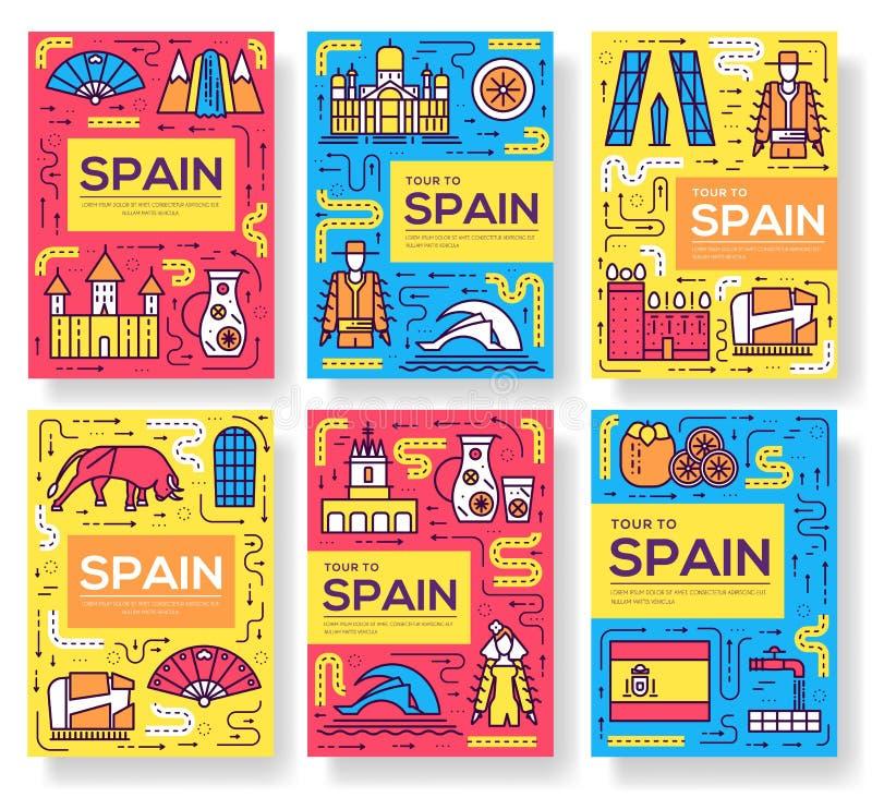 Os cartões do folheto do vetor da Espanha diluem a linha grupo Molde de flyear, compartimentos do curso do país, cartazes, capa d ilustração do vetor