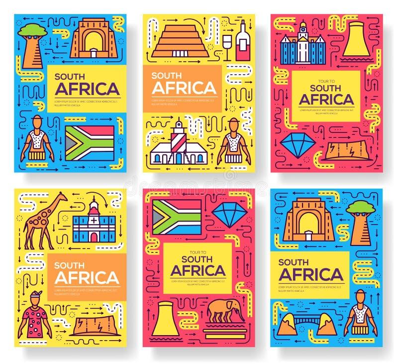 Os cartões do folheto do vetor de África do Sul diluem a linha grupo Molde de flyear, compartimentos do país, cartazes, capa do l ilustração stock