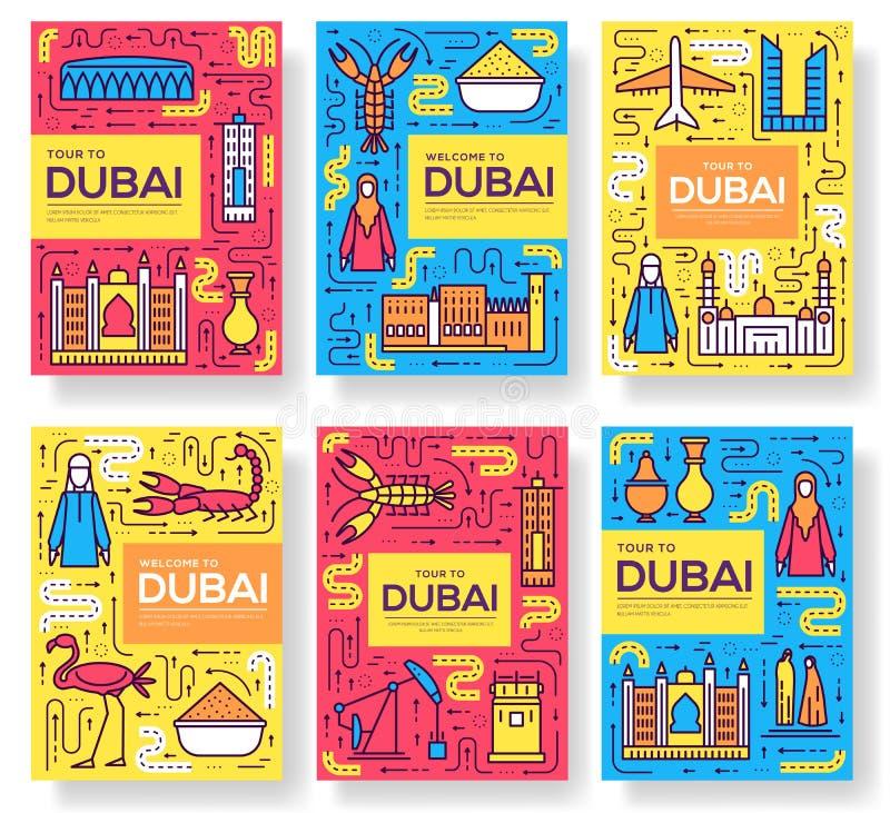 Os cartões do folheto do vetor de Dubai diluem a linha grupo Molde de flyear, compartimentos do curso do país, cartazes, capa do  ilustração stock