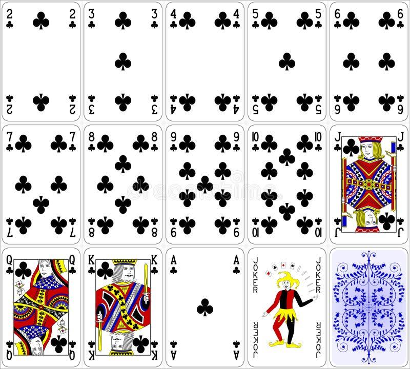 Os cartões do pôquer batem o projeto clássico da cor do grupo quatro ilustração stock