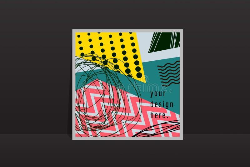 Os cartões geométricos universais criativos do fundo do sumário rabiscam o encabeçamento da arte com formas e texturas diferentes ilustração do vetor