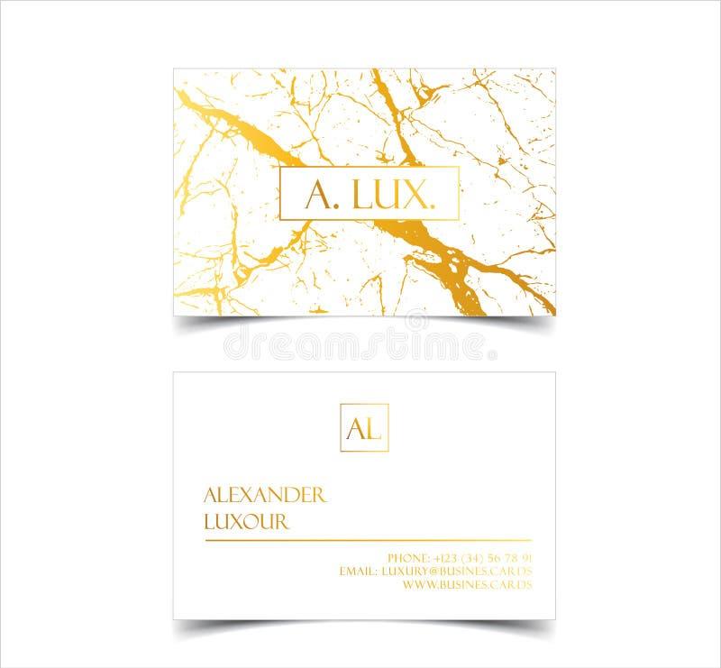 Os cartões luxuosos brancos elegantes com textura e detalhe de mármore do ouro vector o molde, a bandeira ou o convite com ilustração stock