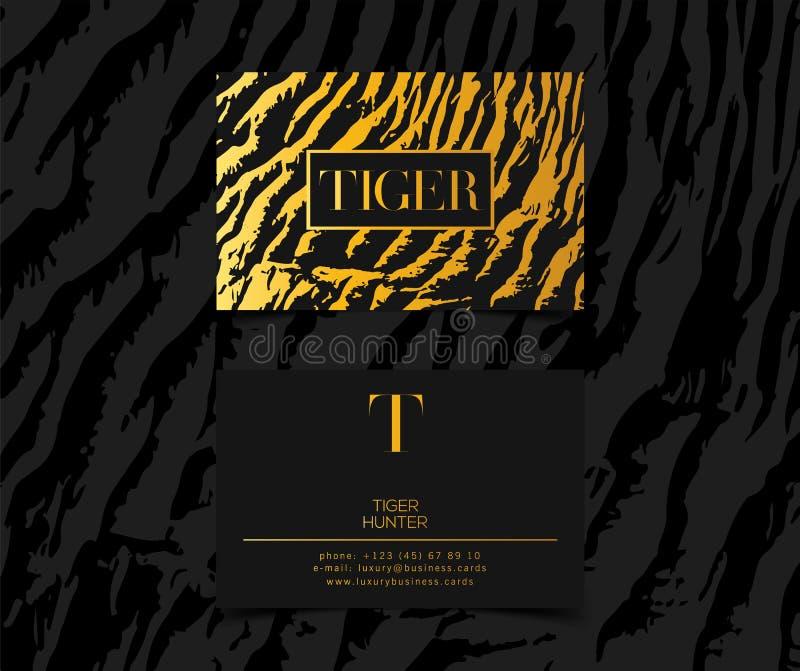 Os cartões luxuosos da forma vector o molde, a bandeira e a tampa com detalhes dourados do ouro do teste padrão da textura do tig ilustração stock
