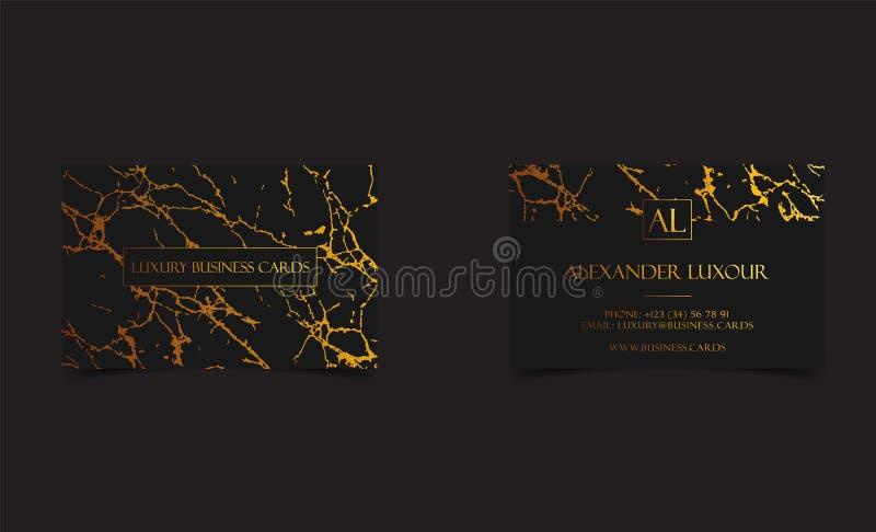 Os cartões luxuosos pretos elegantes com textura e detalhe de mármore do ouro vector o molde, a bandeira ou o convite com ilustração stock
