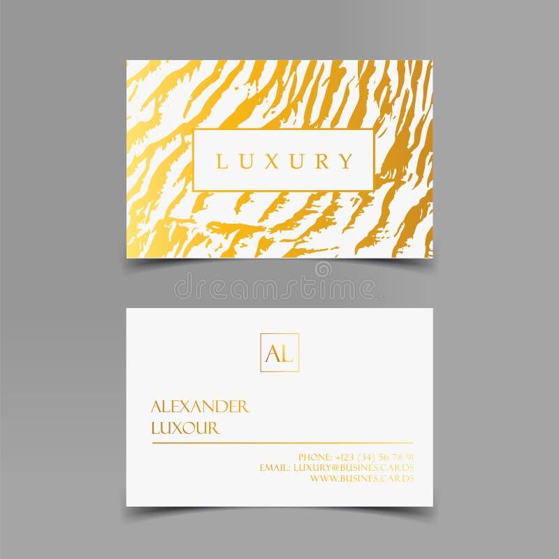 Os cartões luxuosos vector o molde, a bandeira e a tampa com textura de mármore da zebra e detalhes dourados da folha no branco ilustração royalty free