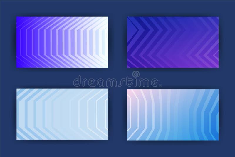 Os cartões projetam o grupo escuro do fundo com linhas ilustração do vetor