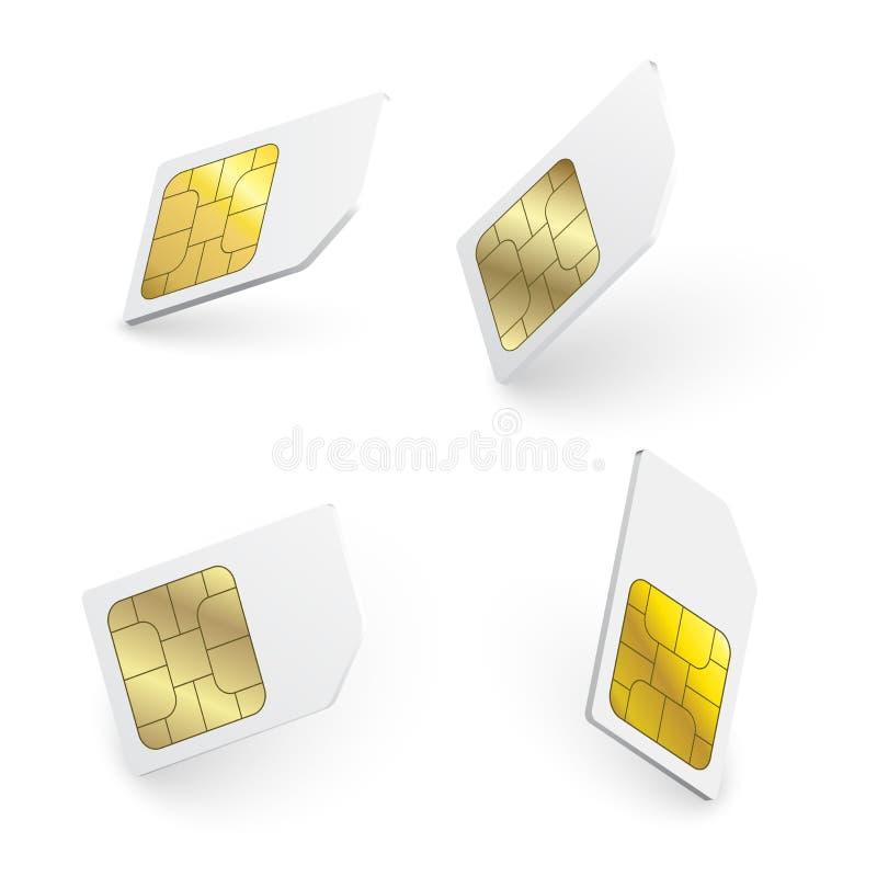Os cart?es real?sticos do sim isolaram 3d o projeto G/M Microplaqueta do ?cone do telefone celular do vetor do cart?o de Sim ilustração stock
