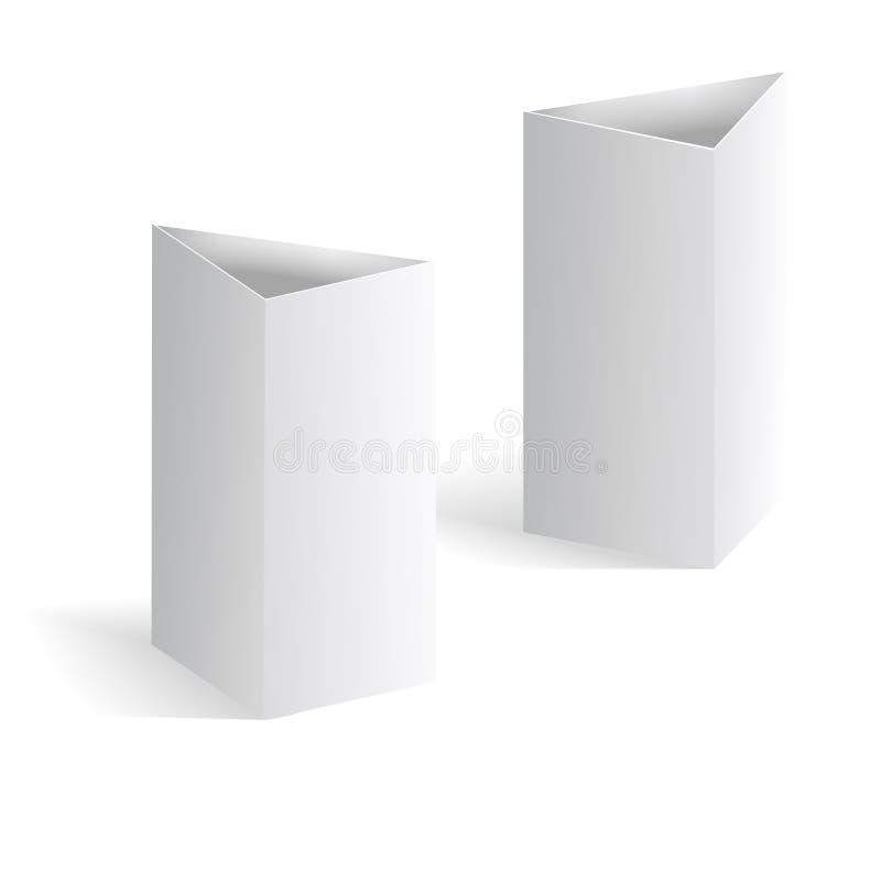 Os cartões verticais do triângulo da barraca branca da tabela vazia no fundo vector o molde ilustração stock