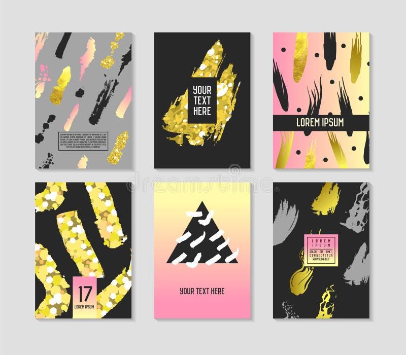 Os cartazes abstratos na moda ajustaram-se com lugar para seus texto e escovas douradas Bandeiras geométricas do moderno, cartaze ilustração royalty free