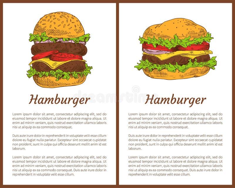 Os cartazes da refeição do Hamburger ajustaram a ilustração do vetor ilustração do vetor