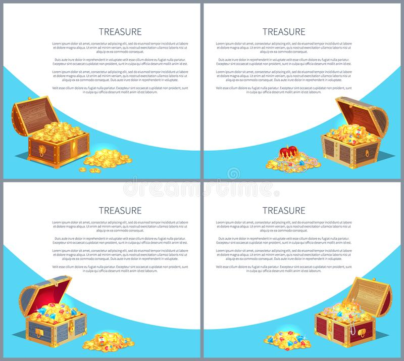 Os cartazes do tesouro ajustaram as caixas antigas das moedas do ouro ilustração royalty free