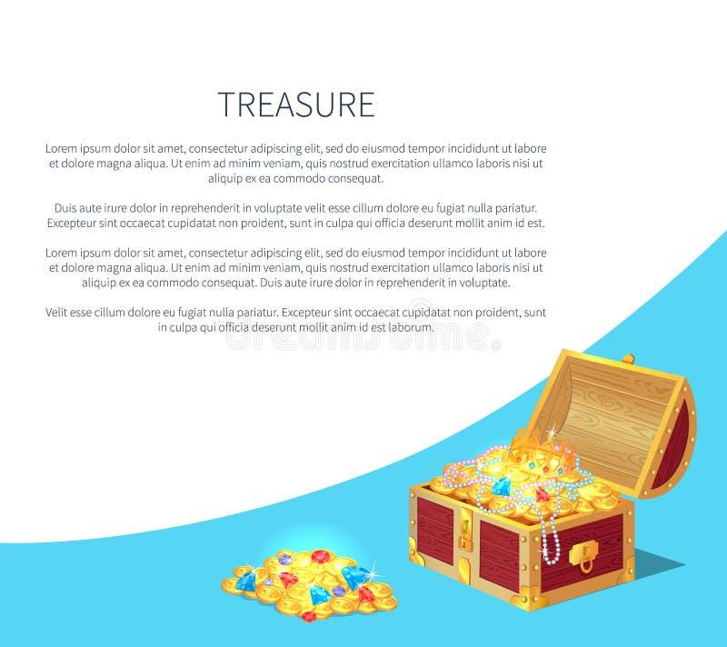 Os cartazes do tesouro ajustaram as caixas antigas das moedas do ouro ilustração stock