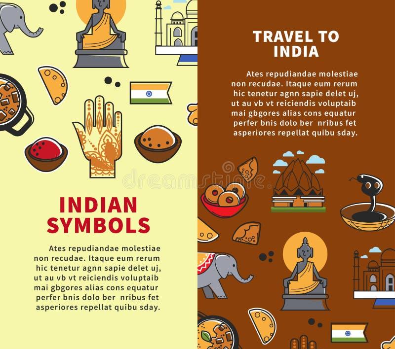 Os cartazes indianos dos símbolos com título ajustaram a ilustração do vetor ilustração do vetor