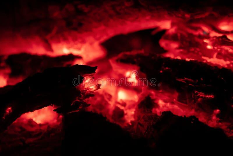 Os carvões ateiam fogo na noite foto de stock royalty free