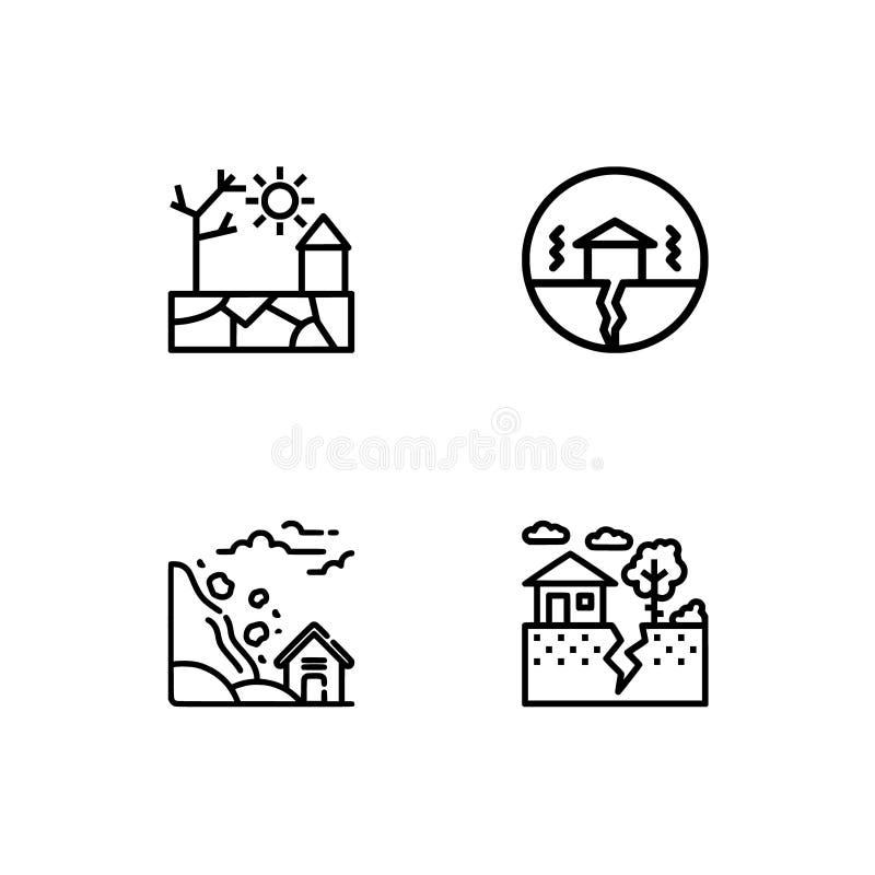 Os cataclismos e os ícones do esboço das catástrofes naturais ajustaram o formato do vetor do EPS 10 Fundo transparente ilustração do vetor